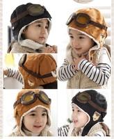 Winter Baby Toddler Boy Girl Kids Pilot Aviator Warm Cap Hat Beanie Brown Black