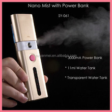2015 new products 3000mAh mobile power bank 11ml USB nano spray facial skin care