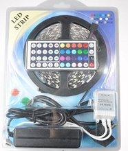 16.4ft 5M ip65 Flexible 300leds Color Changing RGB SMD5050 LED Light Strip Kit RGB 5M +44Key Remote+12V 5A Power Supply