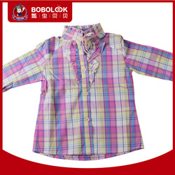 OEM 100% cotton high neck girls long sleeve plaid shirt with sweet lace and ribbon