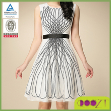 embroidery disc flower slim knee length zip at the back women dress vests factories in China