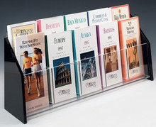 Clear Acrylic Brochure Holders with 10 Pockets for 4 x 9 Inches Pamphlets, Countertop Literature Racks with Black Acrylic