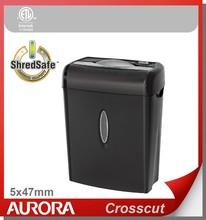 Aurora AS675C Plastic Paper Shredder, 6 sheet (A4) Cross cut 5 x 47 mm,Light Duty Shredding machine t for Home & Office