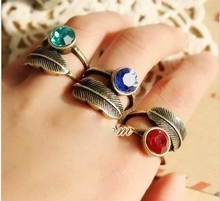 Japanese and Korean fashion retro leaf diamond ring female Special rings
