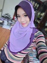 chiffon 2 layers Amira Hijabs Fancy Party Muslim One Piece Hijab Headscarf Scarf