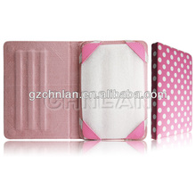 High quality polka dot style stand leather universal 7 inch tablet protective case