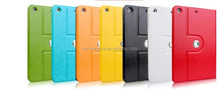 Factory price Plain Colored Rotating Leather Case For iPad Mini 2/3 with all kinds of colors HH-IPM02(5)