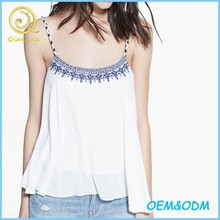 Hot Summer Wear Tops Women Embroidered Spaghetti Strap Top