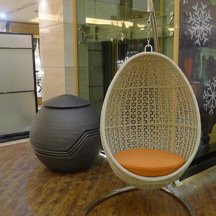 Venda quente Senhor Sonho Pêra Forma de Cana Rattan Cadeira de Balanço Ao Ar Livre