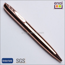 Wonder stylish metal copper ball pen with special clip for LOGO and rose gold plating body
