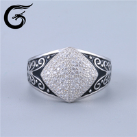 GuoLong simple design 925 silver cz rings big finger ring