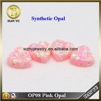 OP08 Heart Cabochon Pink Opal Synthetic