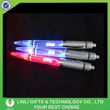 Black Ink Good Writing Aluminum Promotional Pen With Led Light