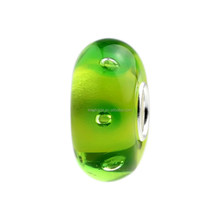 Wholesale Water Park Green Naughty Ocean Bubbles Murano Glass Bead with 925 Sterling Silver Tube For European Bracelets