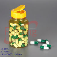 Plastic Health Food Products Yellow Bottle,PET Prescription Capsules Bottle,150cc PET Powder Medicine Container