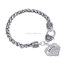 Faith message on white pink bule different Crystal colors Heart lobster clasps Bracelet