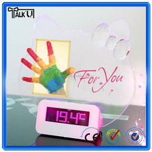 LED Hello Kitty shaped clocks/message alarm Clocks/clocks for christmas gift