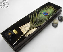 Best gift items for women peacock feather pen set