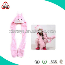 Pink Rabbit-96 CM Long Funny plush animal Hats with mittens