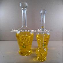Botellas de vidrio para salsas, de cristal de la botella de vidrio para el alcohol, decorativos de vidrio con corcho botella