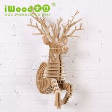 Nature style wood running deer sculpture art and crafts