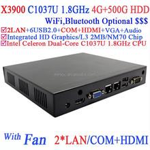 sff computer with fan 2*Lan COM INTEL 1037U dual core 1.8Ghz CPU 4G RAM 500G HDD Windows or Linux 3D API support DirectX 11