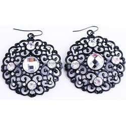 Jet Tone Elegant Filigree Black Metal Earrings Crystal Rhinestone Antique Look