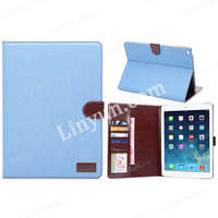 Jeans Design Book Style Design Leather Folio Case for iPad Air 2 Case Cover