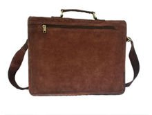Handmade genuine Leather brown suede Laptop Bag and suede Satchel Briefcase