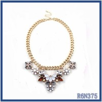 Factory manufacturer 18k gold long chains design fake diamond jewelry wholesale acrylic beads necklace nigerian