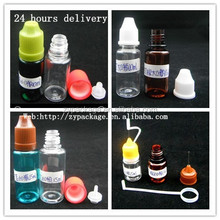 in stock !pet color Pet amber/blue plastic bottle with long thin tip and child proof cap