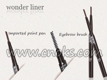 New design triangular shape of eyebrow pencil with a brush ,double head makeup pencil.