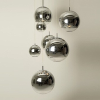 Clear Mirror Glass Pendant Light Chrome Hanging Pendant Customize Ball Chandeliers