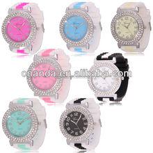 Geneva New Design Crytal Case Two Tone Strap Silicone Bracelet Watch