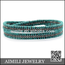 Nuevo color de jade de color turquesa y wraped pulsera wholesael, colorida pulsera clm106 venta al por mayor