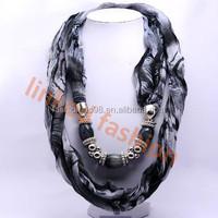 fashion tube scarf with beads jewellery wholesale bandana,headwear,neckwear,neckwarmer,Stole, Ruana