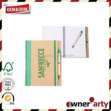 Cheap Eco Friendly Promotion Spiral Notebook Pen Set
