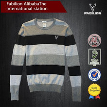 classic wide collar fashion logo striped bulk men's sweater and clothing