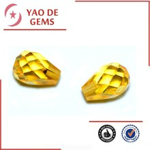 Gold Yellow Pear Checker Board Gemstone Cubic Zirconia Fashion Jewelry/Synthetic Cubic Zirconia Wholesale