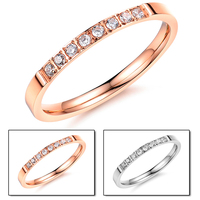 Fashion Jewelry Made in China Wholesale Superstar Accessories Jewelry Delicate Band Ring Micro-pave Diamond Stainless Steel Ring