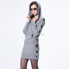 Nice casual slim lady dress fashion ladies dress suit with black star prints