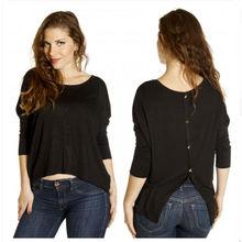 Open back button tee tops fancy girl long sleeve t shirt