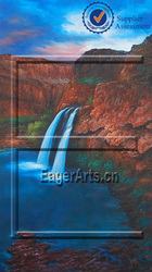 Handpainted Modern Canvas Beautiful Natural Landscape Waterfall Oil Painting