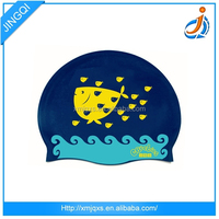 Sun protection good flexibility silicone kids dream paradise swimming caps with spiderman swim cap