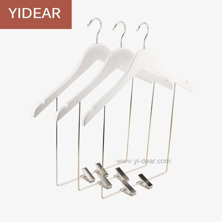 yidear 38cm white color adult dress wooden suit hangers wood garment swimwear display hanger