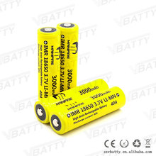 IMR18650 3.7v 40a high rate 40amp 3000mAh battery 18650 rechargeable battery