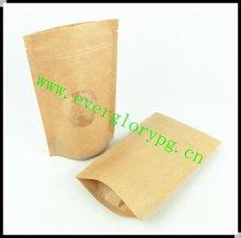 HOT Transparent Window Small Kraft Paper Magic Zip Bag