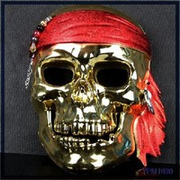 Best Selling New Halloween Party Electroplate Pirate Horror Skull Full Face Mask