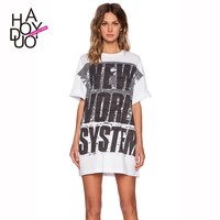 2015 New Women NEW WORLD SYSTEM Letters Print Short Sleeve T-shirts Boyfriend Long Tees for Wholesale Haoduoyi