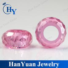 Wuzhou wholesale price pink cubic zirconia hollow beads